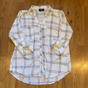 Windowpane chiffon dress shirt